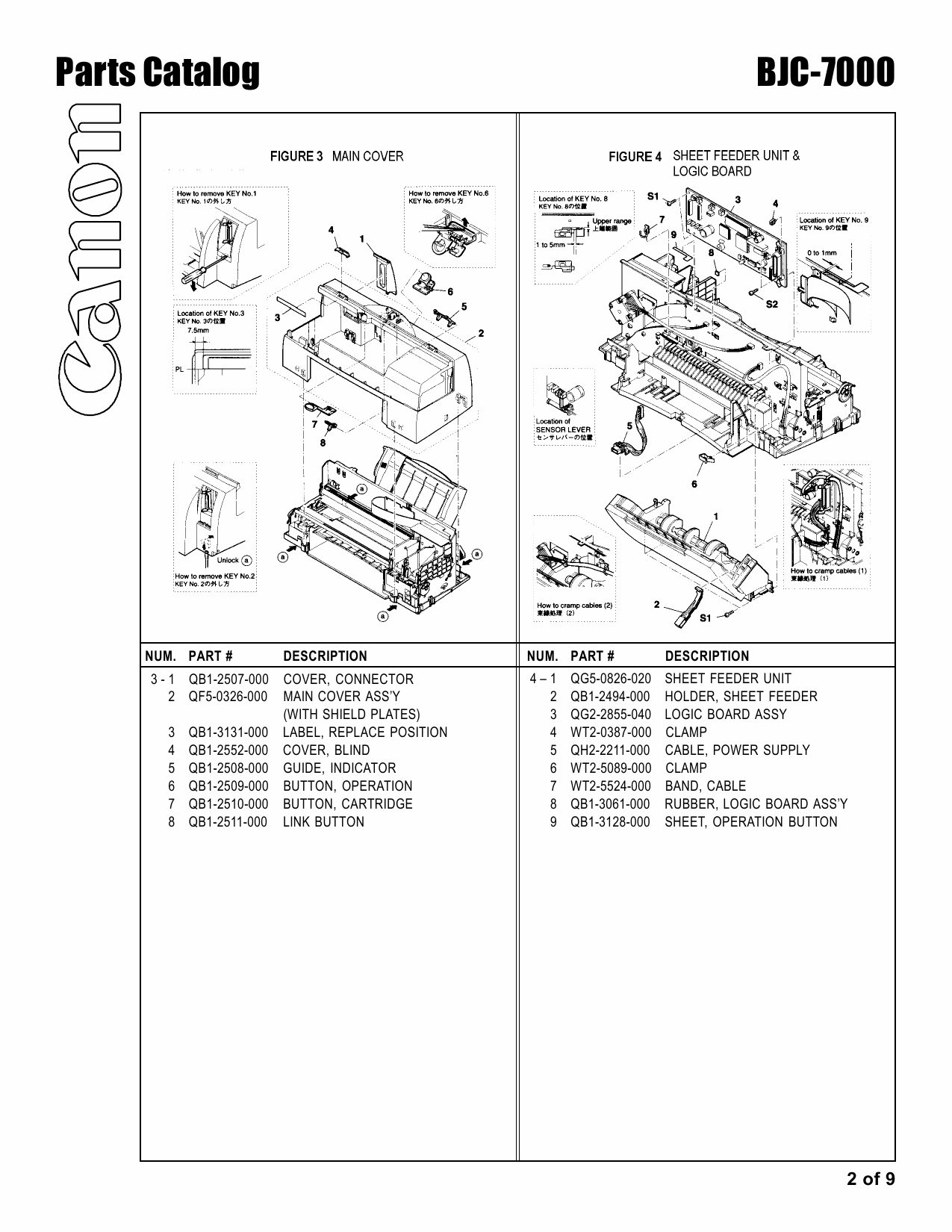Canon BubbleJet BJC-7000 Parts Catalog Manual-2